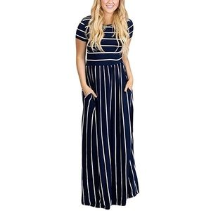 Navy/White striped short sleeve maxi with pockets